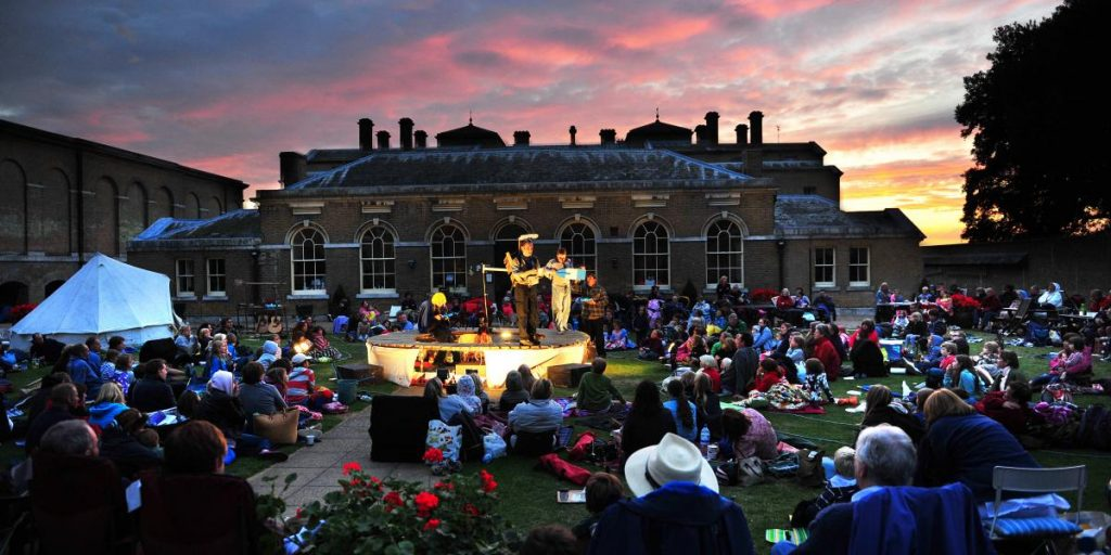 The grounds of Holkham Hall are beautiful even at night. Pictured here: outdoor theatre 2019