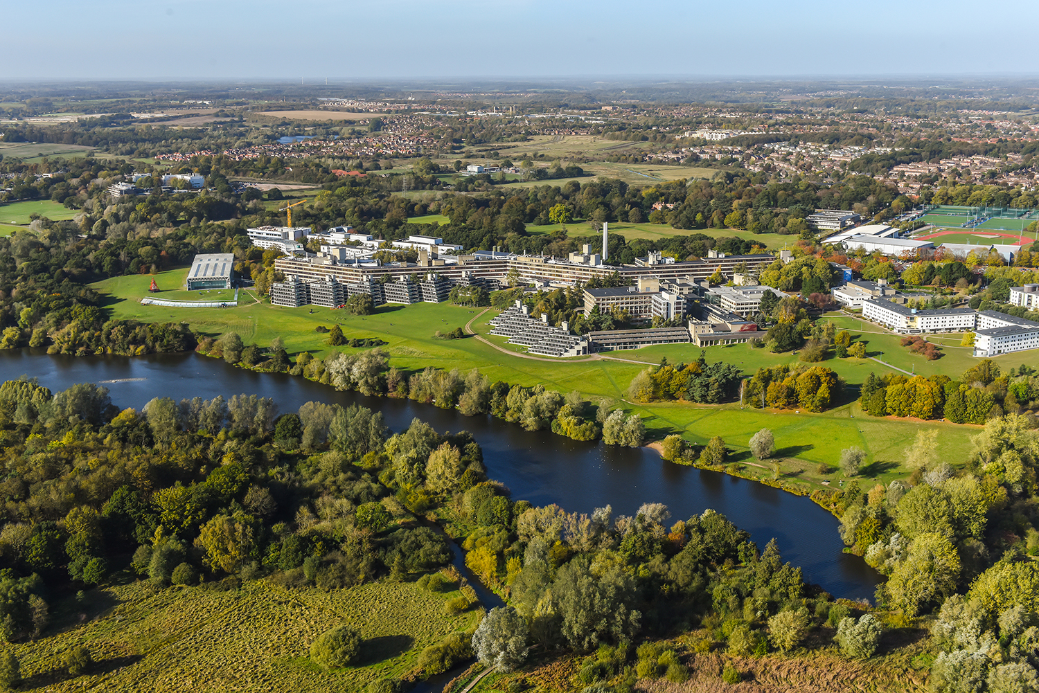 Arial photo of UEA Campus and lake