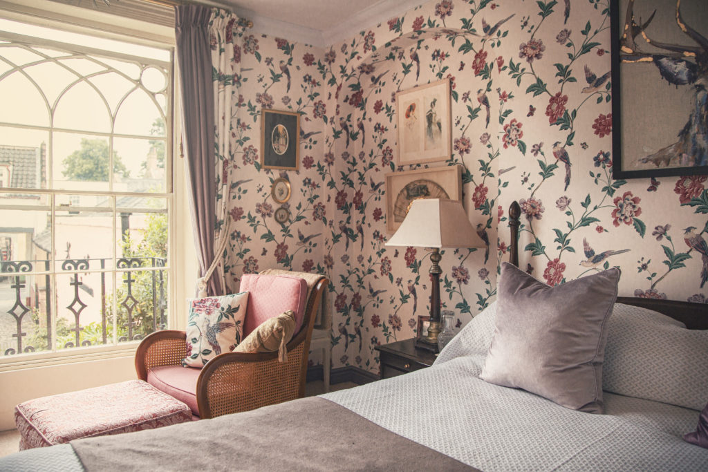 One of the charming bedrooms at Gothic House