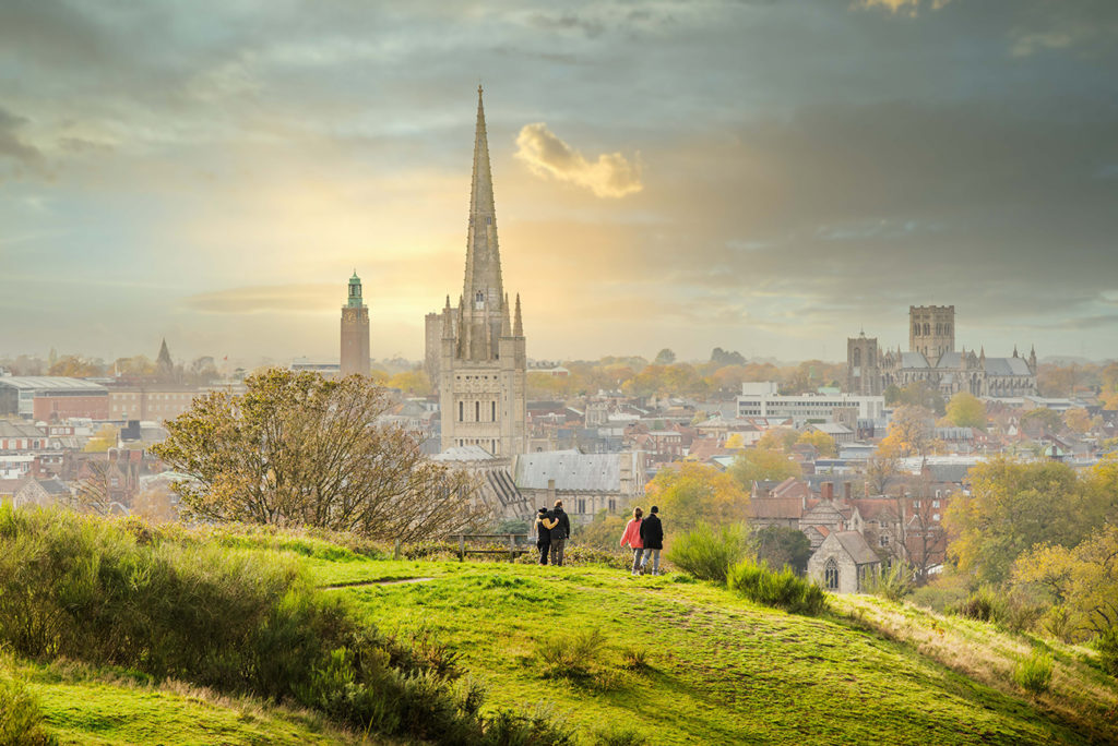 View of the Norwich skyline from Mousehold Heath