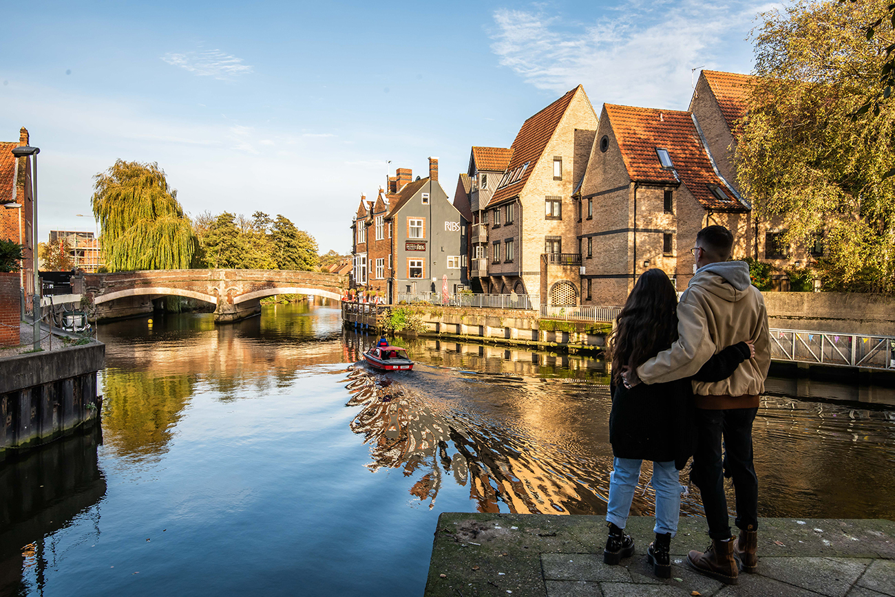 View of the Wensum River and Fye Bridge in Norwich