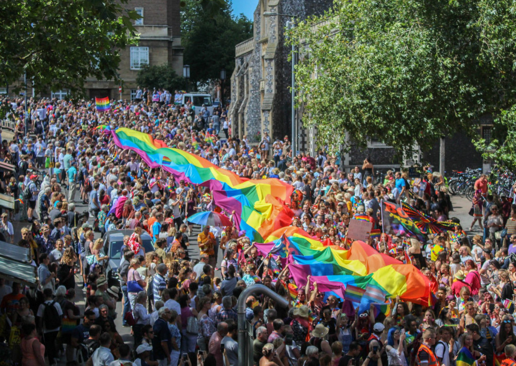 50m rainbow flag in Pride parade
