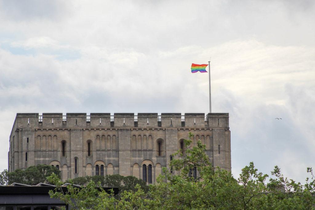 Norwich Castle celebrates Norwich Pride with a rainbow flag