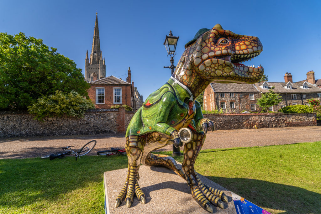 One of the T.rex sculptures part of the GoGoDiscover trail